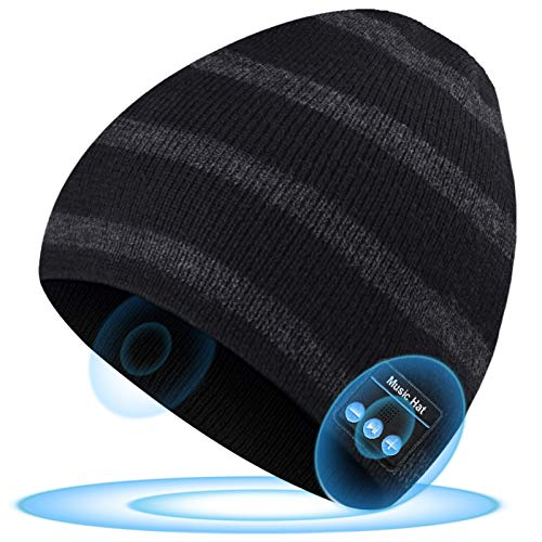 HIGHEVER Bluetooth Hat Beanie Mens Gifts, Christmas Stocking Stuffers for Men Winter Music Hats Xmas Gifts for Men Women Teenage Boys Black