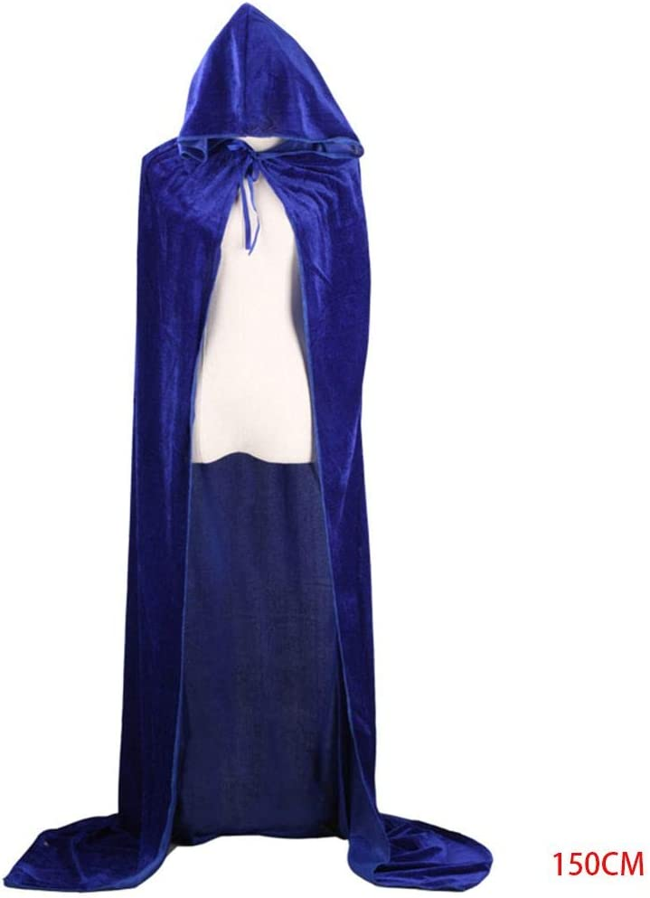 Qinghengyong Halloween Kost/üme Damen Herren Fancy Umhang mit Kapuze Mantel mit Kapuze Erwachsener Erwachsene Hexe Lange Schwarze Feiertags-Party-Umh/änge Hood Capes Blau