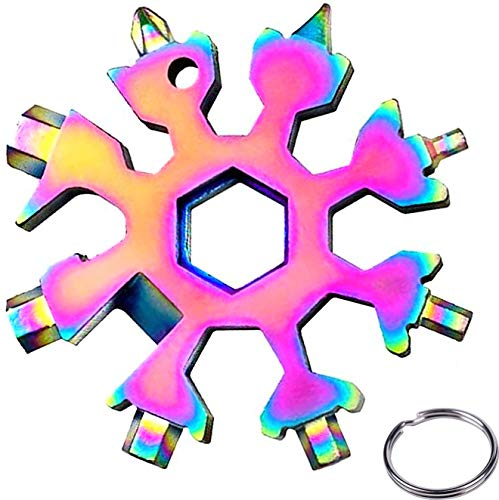 Schneeflocke Multi-Tool 18-in-1 Schlüsselanhänger Flaschenöffner Ringschlüssel Edelstahl Fahrrad Multifunktionswerkzeug tragbare Schraubendreher,für Outdoor-Abent-Weihnachtsgeschenke(Bunt)