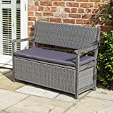 Rowlinson Rattan Storage Bench, Grey