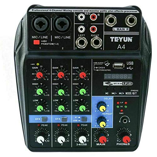 YaeCCC 4 Channels Mini Audio Mixer Sound Board Bluetooth Music Console Power Stereo with Power Cord. Buy it now for 40.99