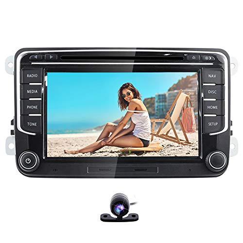 Freeauto - Autoradio da 7 pollici, doppio DIN, per Volkswagen Golf, Passat, Polo, Jetta, Tiguan, Scirocco Skoda Seat con lettore DVD, sistema multimediale, navigazione GPS, USB, SD, FM, AM RDS