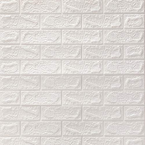 TianRun 6-Pieces 77 x 70 cm 3D Brick Self Adhesive Wallpaper DIY PE Foam Soundproofing Stickers for Kitchen Living Room Bedroom Background Home Decor (White Total 34.8 Sq.Feet)