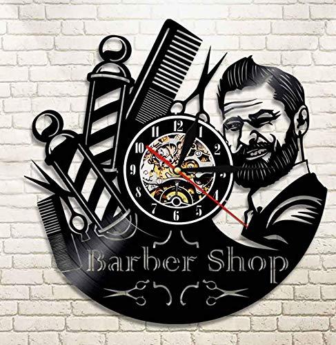 XZXMINGY 30cm Horloge en Vinyle 30CM Soins des Cheveux Salon de Coiffure Salon de Coiffure CD Disque Vinyle Horloge Murale Antique Barber Watch Fashion Barber klok