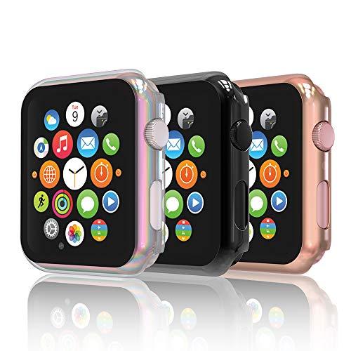 Hianjoo [3-Pack] Cover con Vetro Temperato Compatibile per Apple Watch 42mm, Custodia Pellicola Proteggi Schermo Compatibile on Apple iWatch 42mm Series 3/2/1 - Nero, Serie 5/4 Oro, Colorato