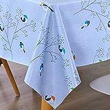 AIJIA Wachstuch Tischdecke Wachstischdecke Blau Plastik PVC Party Tischdecken Wasserabweisend Abwischbare Lotuseffekt für Schutzfolie(Quadratisch Vogel) 137 * 137CM