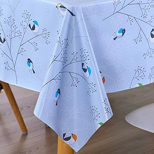 AIJIA Wachstuch Tischdecke Wachstischdecke Blau Plastik PVC Party Tischdecken Wasserabweisend Abwischbare Lotuseffekt für Schutzfolie(Rechteckig Vogel) 137 * 200CM