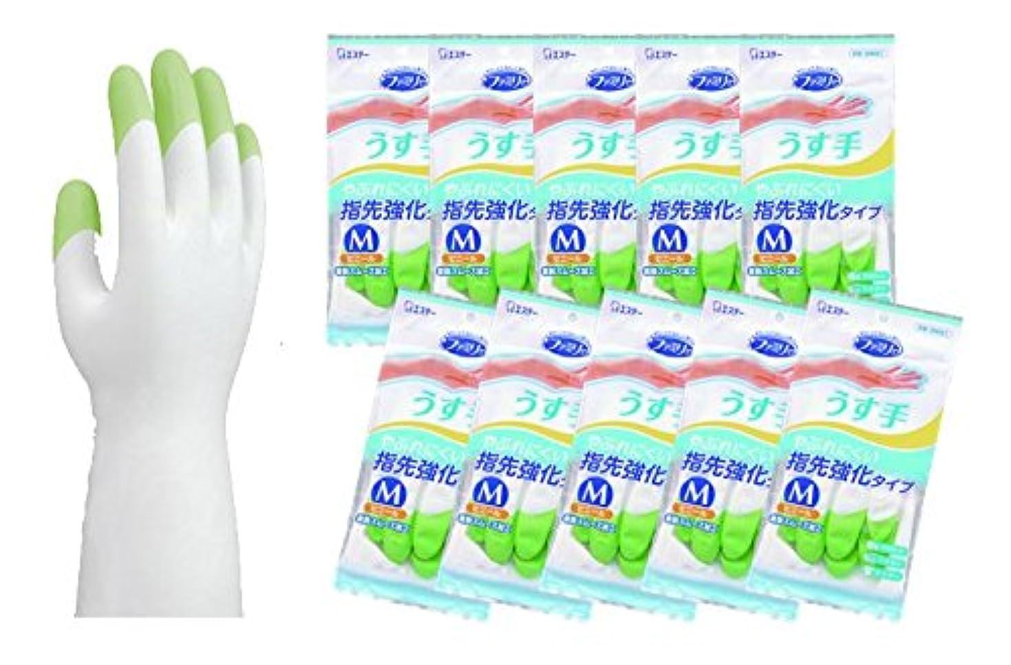 状況パラナ川ジャングルファミリー ビニールうす手 指先強化 Mグリーン 1双×10個セット