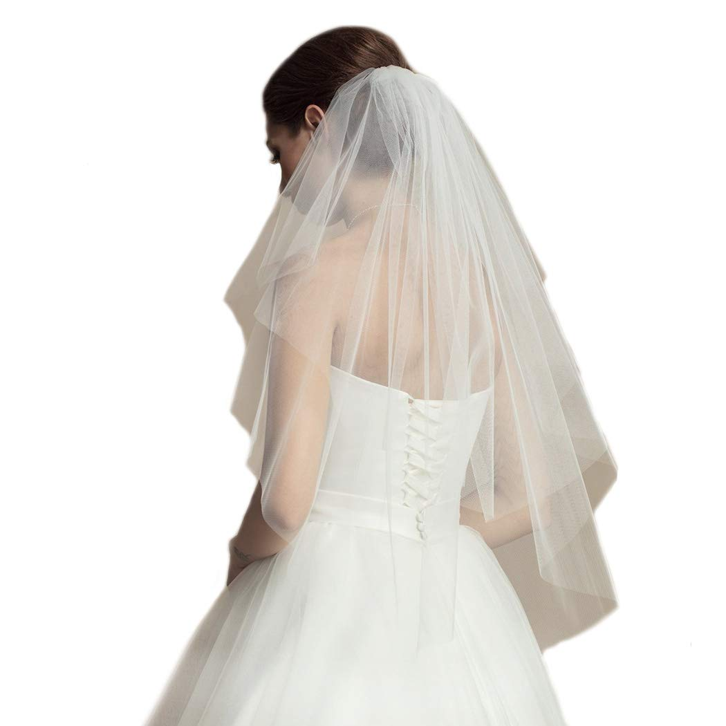 Milanco Bridal Wedding Veil White Cut Edge Drop Veil 2 Tier Brides Hair Accessories with Metal Comb for Women Elbow Length Waist Length (Ivory)