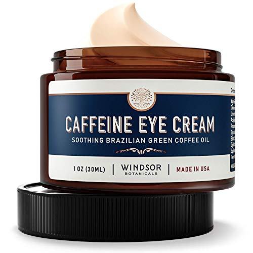 Anti-Aging Caffeine Eye Cream - Windsor Botanicals Age-Defying AHA Formula - Moisturizes, Reduces Wrinkles, Dark Circles and Puffiness - With Soothing 100 Percent Pure Brazilian Green Coffee Oil - 1 oz