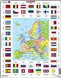 Larsen KL1 Banderas y Mapa político de Europa, edición en Inglés, Puzzle de Marco con 70 Piezas
