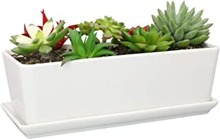 SQOWL 10 inch Rectangular White Ceramic Succulent Planter Pot Modern Flower Cactus Herb Big Planter with Removable Saucer Indoor or Outdoor