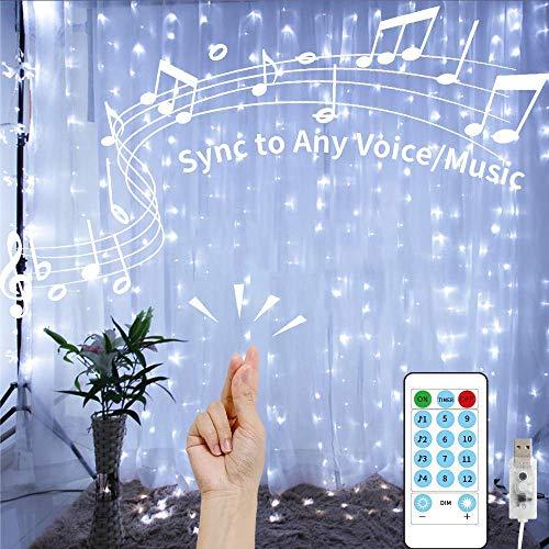 LEDGLE Lichtervorhang 3MX3M Weihnachten Lichterkette LED Vorhang Innen USB Modi IP44 Wasserfall Lichterketten Vorhang Fernbedienung Sound Aktivierte Musik Sync Light für Garten Außen (Weiß)