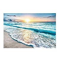 モダンシーサイドサンライズキャンバスペインティングサンビーチ海の風景ウォールアートポスターリビングルームの家の装飾の写真(フレーム付き)