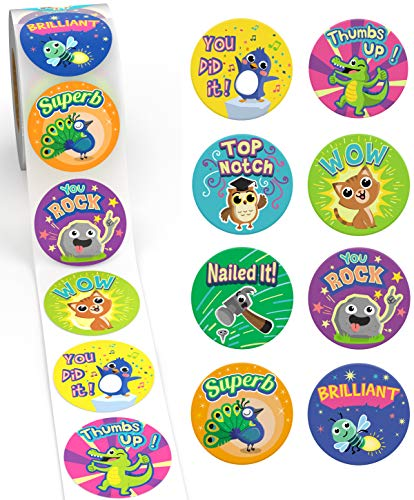 Reward Stickers for Kids by Sweetzer & Orange - 1000 Stickers, 8 Assorted Designs, 1.5 Inch School Stickers - Teacher Supplies for Classroom, Potty Training Stickers and Motivational Stickers