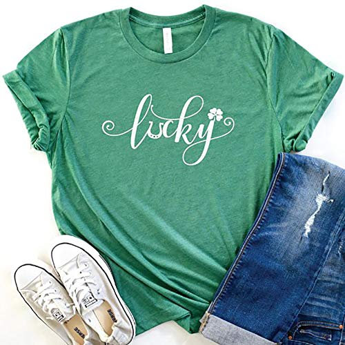 Womens Lucky Shamrock St. Patrick Day Shirt Funny Baseball Tee Tops (S, Green)