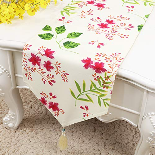 Pastoral Style Cotton And Linen Table Runner, Spring Floral Print With Tassels For Dinner Table Decoration, Tv Cabinet Dressing Table Cover 33x180cm