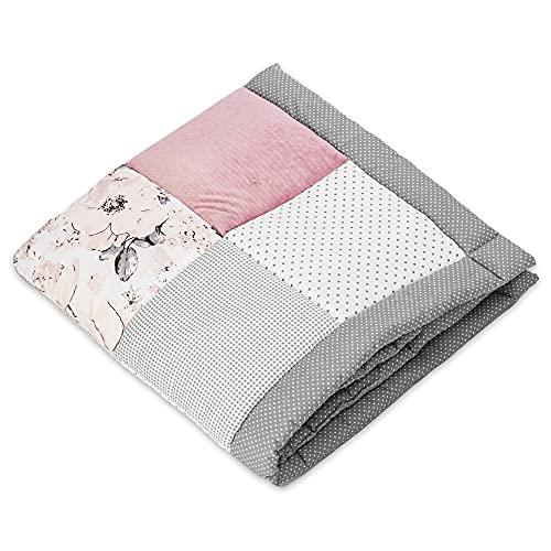 Manta para gatear para bebé, para bebé Öko-Tex Standard 100 (Rosa terciopelo con algodón con motivo de rosas, 100 x 100 cm)