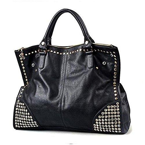 FiveloveTwo Damen Handtasche Griff Tasche Schultertaschen Shopper Umhängetaschen Punk Nieten Schwarz Geldbörse Handtasche