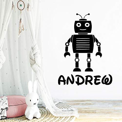 Lindo robot nombre personalizado para la habitación de los niños extraíble PVC etiqueta de la pared vinilo arte calcomanía papel tapiz arte calcomanía A9 L 43x49cm