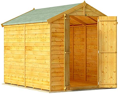 BillyOh Keeper Overlap Garden Shed with Floor | Wooden Garden Storage Shed with Apex Roof & Felt Included | Windowed or...