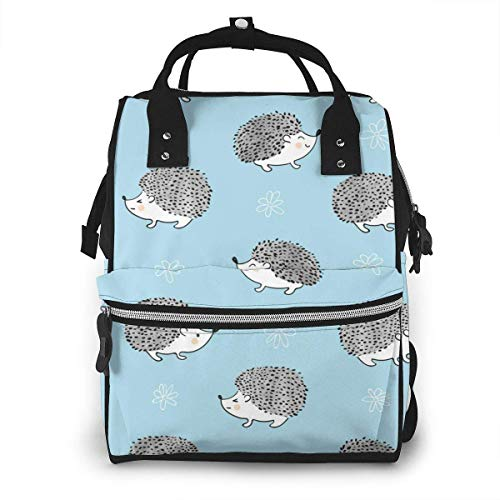UUwant Sac à Dos à Couches pour Maman Cute Watercolor Hedgehog Diaper Bags Large Capacity Diaper Backpack Travel Nappy Bags Mummy Backpackling