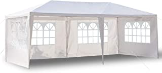 Boylymia 10' x 20'Outdoor White Waterproof Gazebo Canopy Tent with 6 Removable Sidewalls and Windows Heavy Duty Tent for Party Wedding Events Beach BBQ