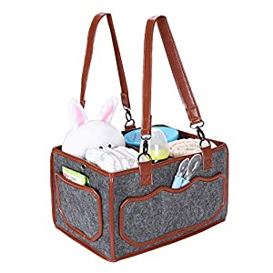 Baby Diaper Caddy Organizer – Portable Travel Diaper Bag Basket, Newborn Baby Diaper Stackers for Baby Shower or Outdoor, 13 x 7.7 x 9in