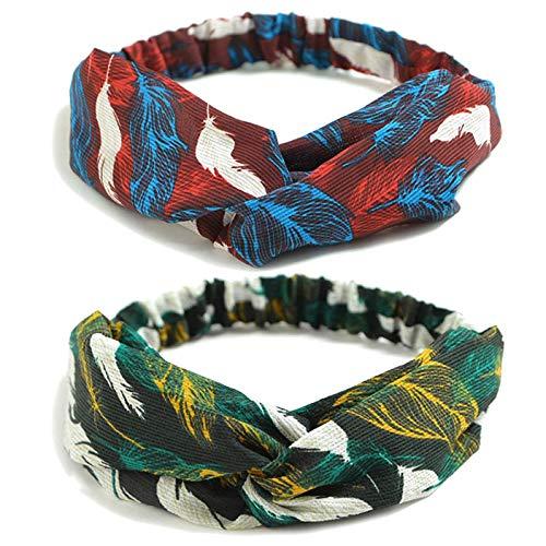 DRESHOW 10 Pack Women's Headbands Boho Flower Printing Twisted Criss Cross Elastic Hair Band Accessories
