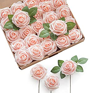 Ling's moment Artificial Flowers Real Looking Foam Roses w/Stem for DIY Wedding Bouquets Centerpieces Bridal Shower Party Home DecorationsRegular 3″