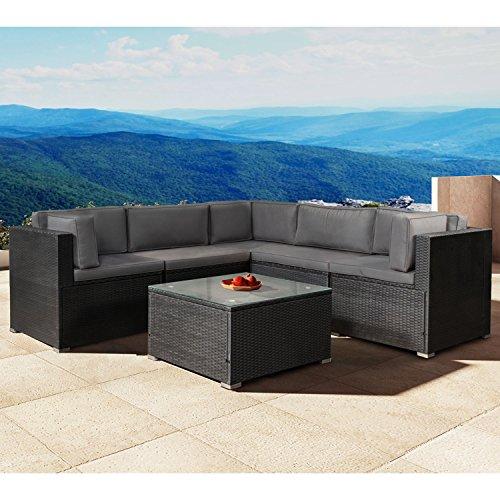 ArtLife Polyrattan Lounge Nassau schwarz | Gartenmöbel-Set mit Ecksofa & Tisch | dunkelgraue Bezüge | Sitzgruppe für Terrasse & Wintergarten - 2