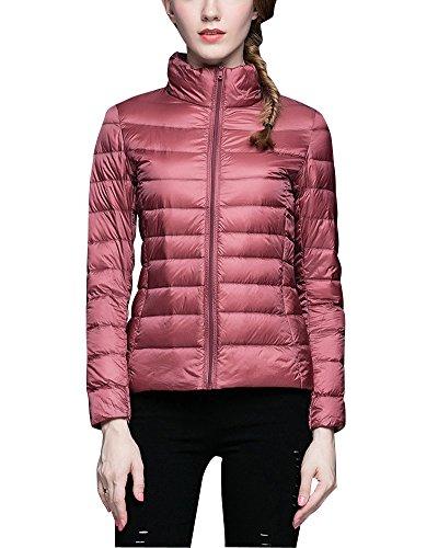 ZhuiKun Damen down-puffer-jacken-mantel tand kragen stopfbarer ultra light weight rosa s