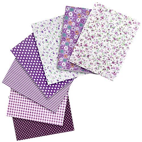 Filato & ago 7 tessuti patchwork in cotone, 50 x 50 cm, diversi motivi, colore: viola + bianco