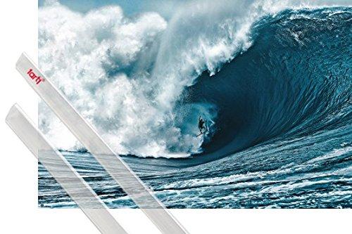 Póster y soporte fácilmente modificable diseño 1art1 1 Surf, The Big Wave Póster, dimensiones aprox. 91x61 cm 1 Lote de varillas para pósteres 1art1 Productos de marca de gran calidad