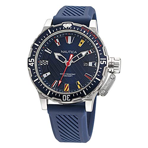 Nautica Men's Stainless Steel Quartz Silicone Strap, Blue, 22 Casual Watch (Model: NAPGLF001)
