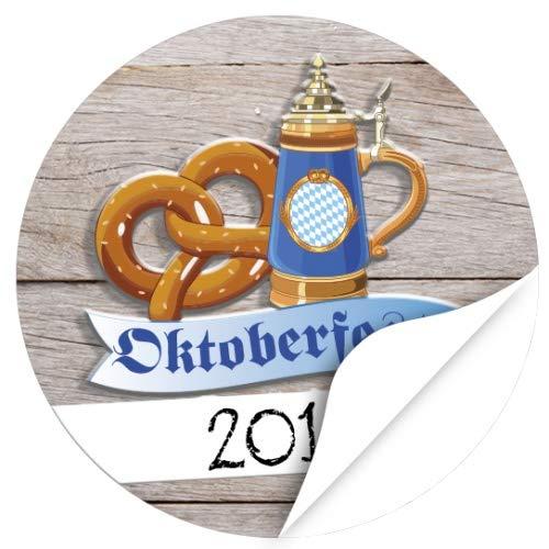 48 Oktoberfest 2019 Etiketten, rund/Bierkrug mit Brezn/zur Dekoration/Aufkleber/Sticker/Einladung