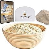 DropDough Banneton Bread Proofing Basket Set | 25cm 10 inch | Round Bread Proving Baskets | Professional Sourdough Proving Basket for Home Bakers | Free eBook