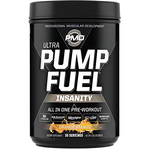 PMD Sports Ultra Pump Fuel Insanity - Pre Workout Drink Mix for Energy, Strength, Endurance, Muscle Pumps and Recovery - Complex Carbohydrates and Amino Energy - Tropical Orange Mango (30 Servings)