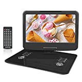 WONNIE 15.5 inch Portable DVD Player with 270 Swivel Screen, Built-in 4 hours Rechargeable Battery, Stereo Sound, Region Free,Support USB/SD/AV Out & IN