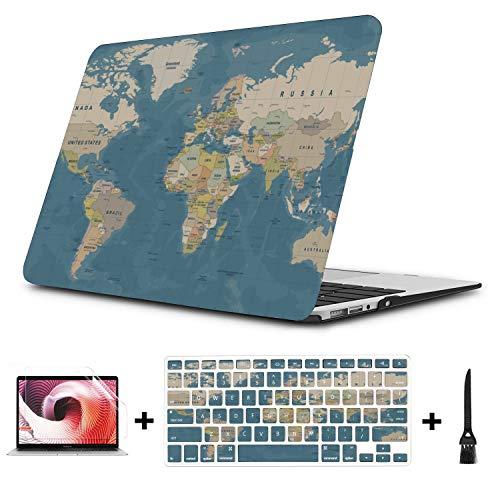 Funda para portátil Moda Geografía Arte Mapa del Mundo Tierra Plástico Cáscara Dura Compatible Mac Air 11