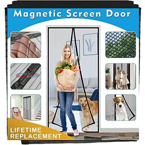 """French Door Screen Magnetic Closure 72"""" x 80""""Fiberglass Screen Door [Upgraded Version], IKSTAR Magic Mesh Screen for Sliding Door, Self Sealing, Heavy Duty, Hands Free Net for Door Keep Bugs Out"""