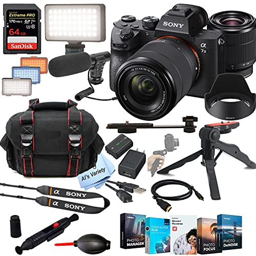 Sony Alpha a7 III Mirrorless Digital Camera with 28-70mm Lens+ Shot-Gun Microphone + LED Always on Light+ 64GB Extreme Speed Card, Gripod, Case, and More (26pc Video Bundle)