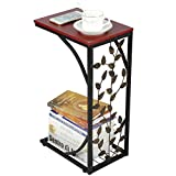 Yaheetech C-Shaped Small Side <span class='highlight'>Table</span> Metal Coffee/Tea End <span class='highlight'>Table</span> Snack Side <span class='highlight'>Table</span> with Storage Shelf for Living Room/Office Room/Bedroom, Leaf Pattern