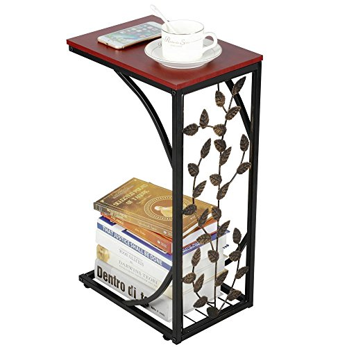 Yaheetech C-Shaped Small Side Table Metal Coffee/Tea End Table Snack Side Table with Storage Shelf for Living Room/Office Room/Bedroom, Leaf Pattern