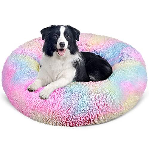 G.C Hundebett flauschig, Donut Hundebett Rundes Plüsch Hundekissen kuscheliges Haustierbett waschbar Katzenbett Hundesofa für Kleine Mittelgroße Hunde