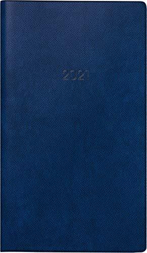 BRUNNEN 1075028301 Taschenkalender/Monats-Sichtkalender Modell 750, 2 Seiten = 1 Monat, 8,7 x 15,3 cm, Kunststoff-Einband blau, Kalendarium 2021