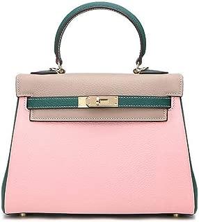 Fashion New Leather Handbags Leather Shoulder Slung Handbag (Color : Pink)
