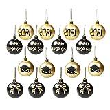 Moosunsa Bolas para árbol de Navidad – 12 unidades / juego de bolas de plástico pintadas a mano, bolas de decoración para casa, fiestas, vacaciones, color dorado y negro