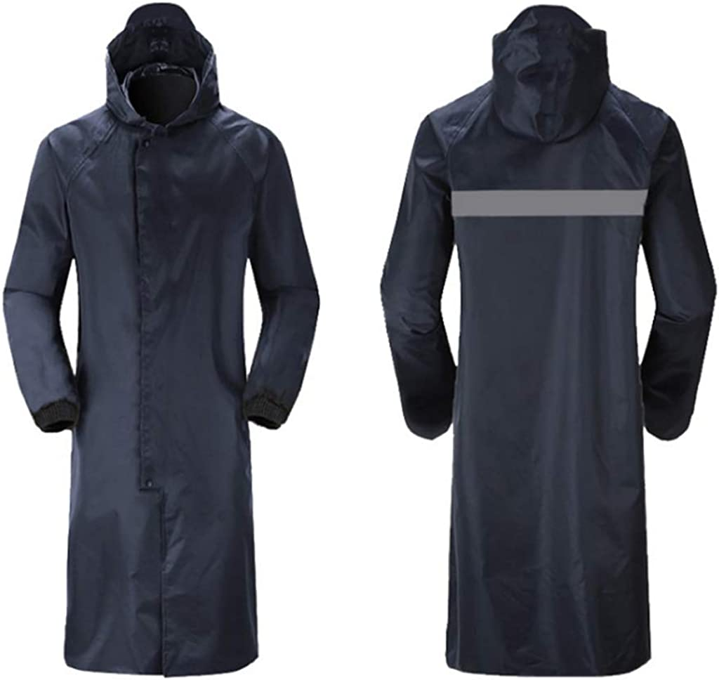 Fytoo Siamese Reflective Raincoat Adult Trench Coat Fashion Coat Electric Car Bicycle Outdoor Riding Poncho Navy Blue