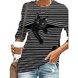 Camiseta de manga larga para mujer con diseño de gato negro y gato con rayas en 3D, cuello redondo, de poliéster, moda y encantadora, estilo informal, jersey de cuello redondo